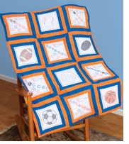Themed Stamped White Quilt Blocks Sports