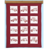 Themed Stamped White Quilt Blocks Vintage Vehicles