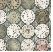Tim Holtz Eclectic Elements Bridge Designs Timepieces Multi 45inX8yds