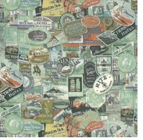 Tim Holtz Eclectic Elements Bridge Designs Travel Labels Multi 45inX8yds