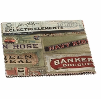 Tim Holtz Fabric Eclectic Elements II Documentation 6inx6in 8pcs