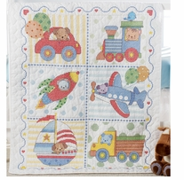 Transportation Crib Cover Stamped Cross Stitch Kit