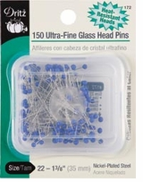 Ultra-Fine Glass Head Pins 1-3/8in