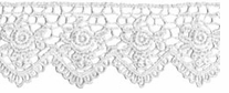 Venice Lace Scallop Edge Rose White