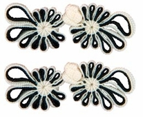 Vision Trim Handmade Chinese Frog Closure 7cm Black/White