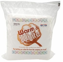 Warm and White Cotton Batting Queen Size