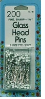 White Glasshead Pins Size 22 200/Pkg