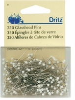 White Glasshead Pins Size 22 250/Pkg