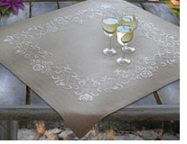 White Roses Tablecloth Embroidery Kit