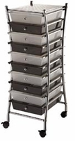 X-Frame Storage Cart with 10 Drawers, Clear/Smoke