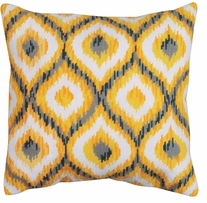 Yellow Ikat Needlepoint Kit Stitched In Yarn 12inX12in