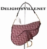 Christian Dior SLO44001 Logo Canvas Saddle Handbag Gold / Bordeaux