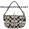 Coach 15068 24CM Signature East West Duffle Handbag Silver / Black White / Black