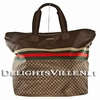 Gucci 268106 F951N Nylon Tote Handbag Large Brown / Green / Red