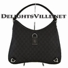 Gucci 268636 F5DIR GG Abbey D Ring Hobo Handbag Black