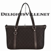Gucci 268640 F5DIR GG Abbey Denim Zip Tote Handbag Dark Brown