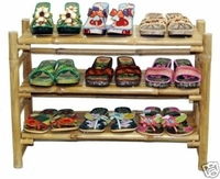 Shoe Rack Bamboo Shelves Display Retail Racks