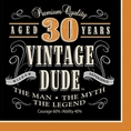 30th Vintage Dude Luncheon Napkins