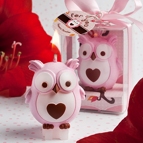 Adorable Pink Owl Candle Favors