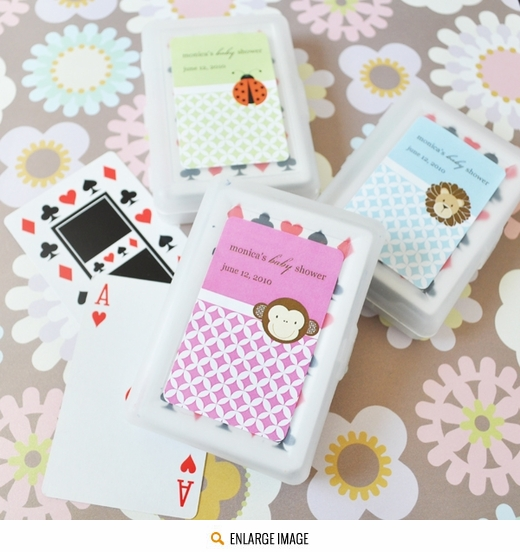 Examples of our Baby Animal Playing Card Favors including a variety of animal designs and color option swatches.