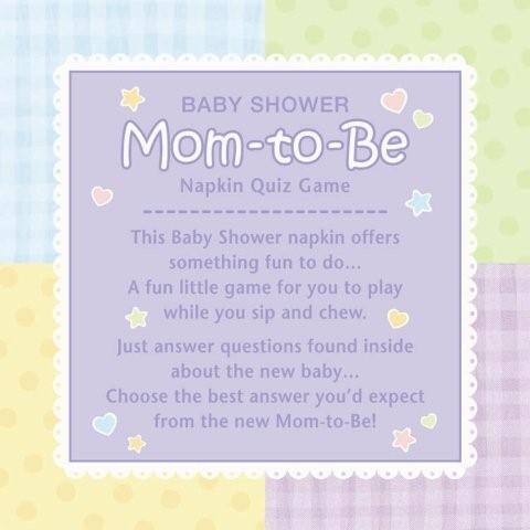 Baby Shower Mom To Be Napkin Quiz Game