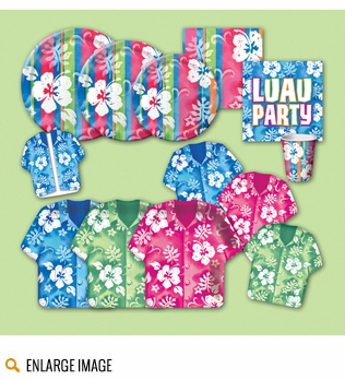 Bahama party supplies in shades of green, blue and pink featuring stripes, blooms and bahama shirts.
