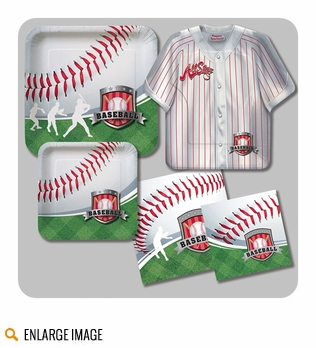 Green, white and red baseball party supplies featuring baseballs, baseball players and grassy field perfect for a game day event!