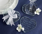 """Good Wishes"" Heart Glass Coasters"