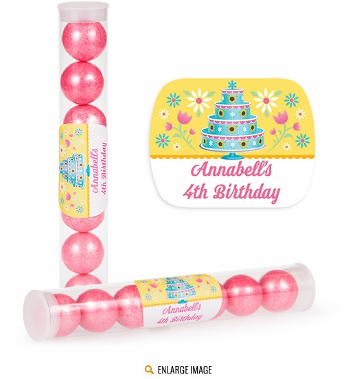 Birthday fever personalized candy tubes partypail