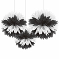 Black and White Tissue Pom Pom Decorations
