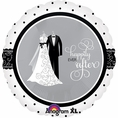 Black & White Wedding Mylar Balloon