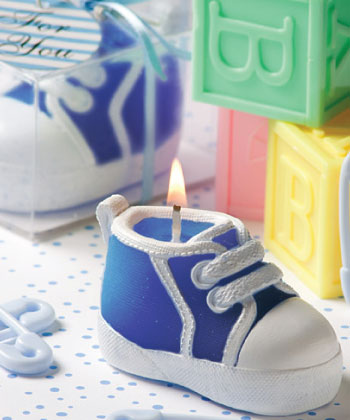 Blue Baby Bootie Sneaker Design Candle