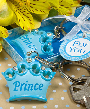 Blue Crown Themed Prince Key Chain Favor