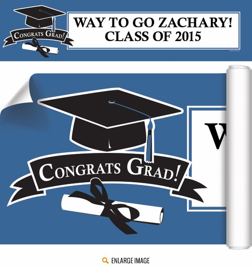 2015 Blue Customized Graduation Banner
