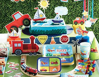 Our popular On the Go boys birthday party theme. Perfect for the birthday boy who loves planes, trains, and automobiles!