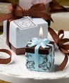 Brown & Blue Gift Box Candle Favor