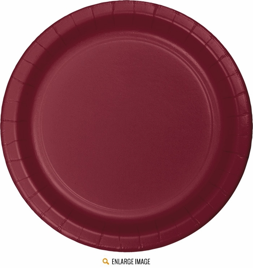 "Burgundy 7"" Plates - 24 ct are sold 24 per package."
