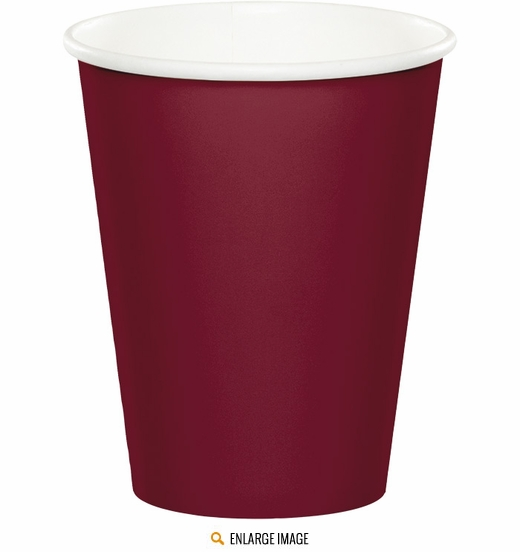 Burgundy 9 oz Cups - 24 ct are sold 24 per package.