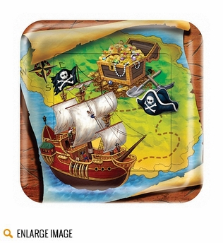 Green, blue and brown Buried Treasure Party Supplies featuring a ship, treasure map, and treasure chest.