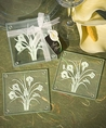 Calla Lily Bouquet Design Glass Coasters set of 2