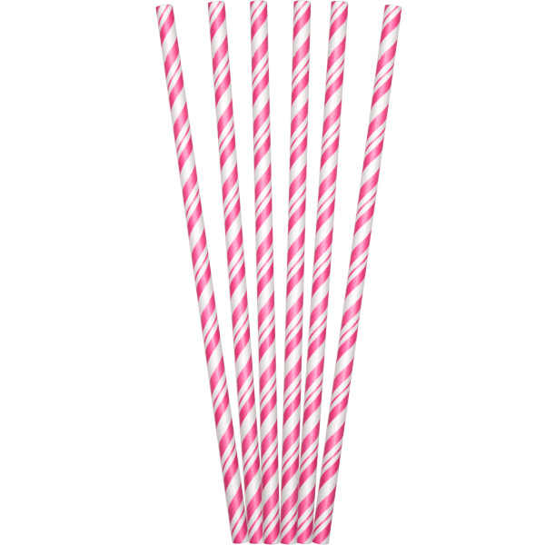 Pink And White Striped Paper Straws Candy Pink And White Striped