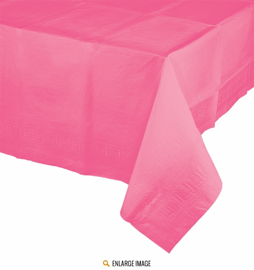 "Candy Pink Decorative Tablecover is 54"" x 108""."