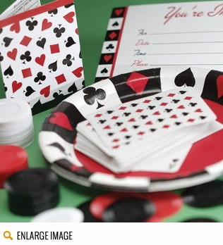 Card Night Party Supplies featuring hearts clubs, diamonds, and spades in bold red and black. This Las Vegas poker theme features tableware, invitations, tons of decorations and favors, and more.