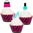 Pink Zebra Boutique Cupcake Wrappers with Picks