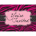 Pink Zebra Boutique Diecut Postcard Invitations