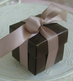 "Chocolate Brown 2"" Square Box & Ribbon"