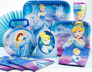 Cinderella Sparkle party decorations are an enchanting mix of blue, purple and pink party supplies featuring Cinderellas Fairy Godmother, her mouse friends, and the elegant coach that whisks her away to the Princes royal ball.