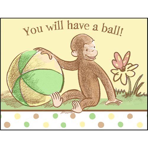 Cute & Curious George Party Invitations
