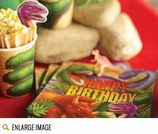 Bold, bright dinosaur party supplies featuring images of the t-rex, triceratops, raptors and more!