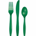 Emerald Green Assorted Plastic Cutlery 24 Count